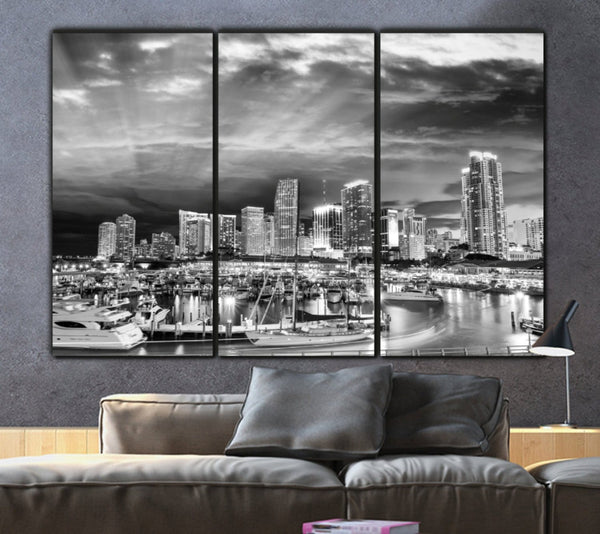 Miami Skyline Black & White Canvas Wall Art - Canvas Wall Art - HolyCowCanvas