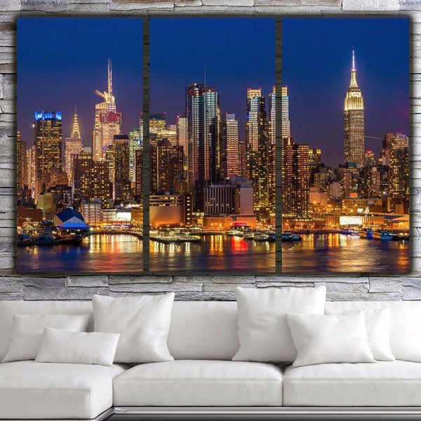 New York Skyline at Night Canvas Wall Art - Canvas Wall Art - HolyCowCanvas