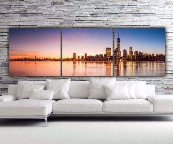 New York City Sunset Panorama Wall Art - Canvas Wall Art - HolyCowCanvas