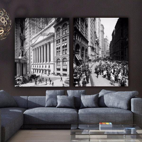 New York Financial District Vintage Wall Art - Canvas Wall Art - HolyCowCanvas