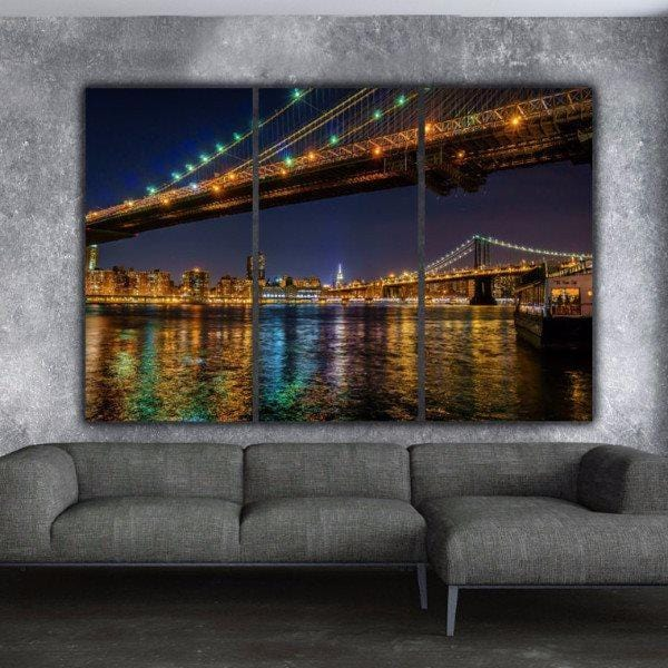 New York Manhattan at Night Wall Art - Canvas Wall Art - HolyCowCanvas