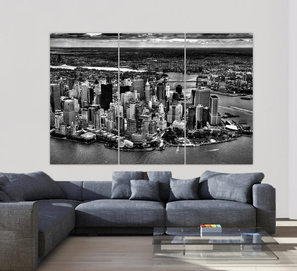 New York Skyline Aerial Canvas Wall Art - Canvas Wall Art - HolyCowCanvas