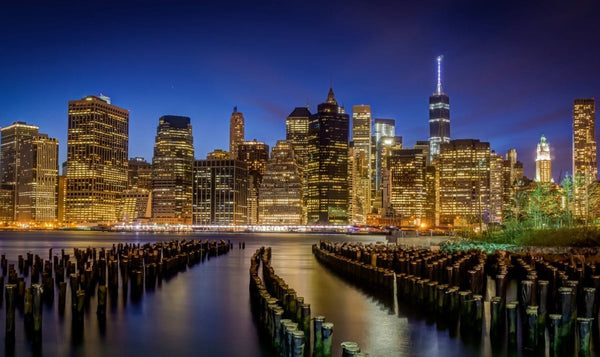 NYC Skyline at Night Canvas Wall Art - Canvas Wall Art - HolyCowCanvas