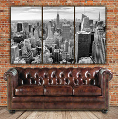 New York Skyline  - Empire State B&W Canvas Art - Canvas Wall Art - HolyCowCanvas
