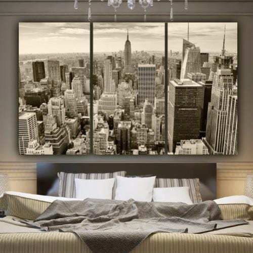 Sepia New York Skyline Canvas Wall Art - Canvas Wall Art - HolyCowCanvas