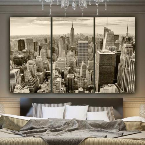 New York Skyline Sepia Tone Canvas Wall Art - Canvas Wall Art - HolyCowCanvas