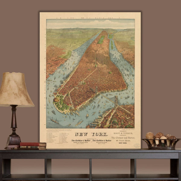 Vintage NYC Map 1879 - Canvas Wall Art - Canvas Wall Art - HolyCowCanvas