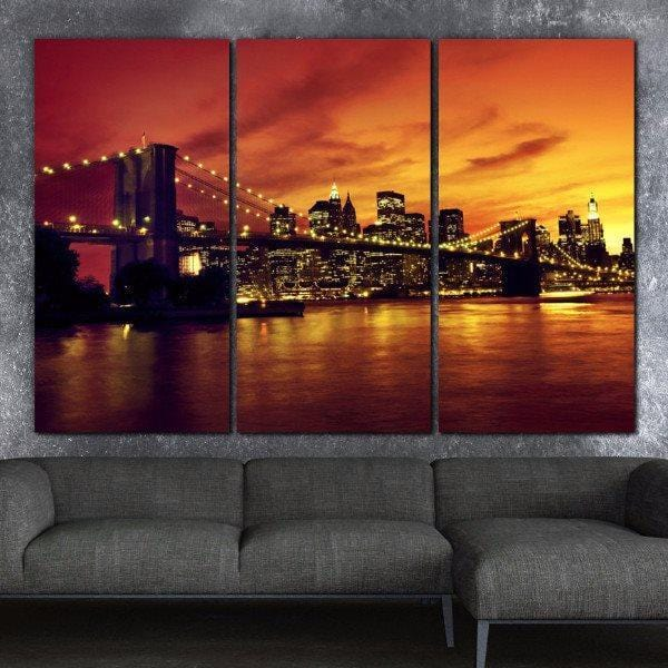 NYC Sunset over Brooklyn Bridge Canvas Art - Canvas Wall Art - HolyCowCanvas