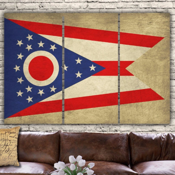 Ohio State Flag Canvas Wall Art - Canvas Wall Art - HolyCowCanvas