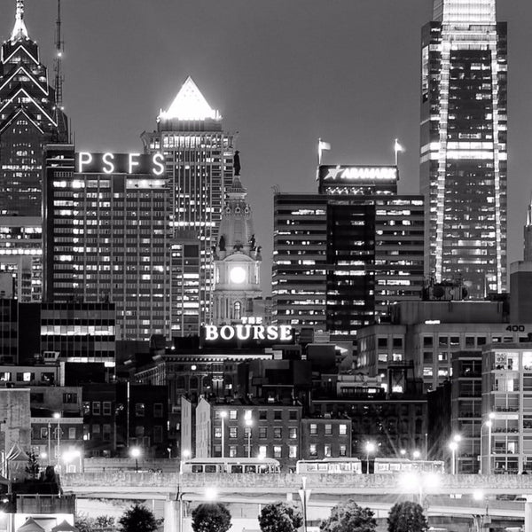 Black & White Philadelphia Skyline Canvas - Canvas Wall Art - HolyCowCanvas