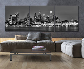 Black & White Philadelphia Skyline Canvas