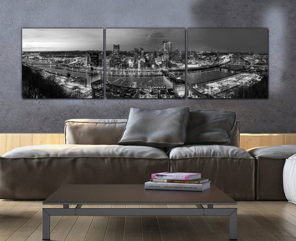 Pittsburgh Skyline Black & White Canvas - Canvas Wall Art - HolyCowCanvas