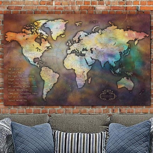 Push Pin Antique Collage World Map - Single Panel - Canvas Wall Art - HolyCowCanvas