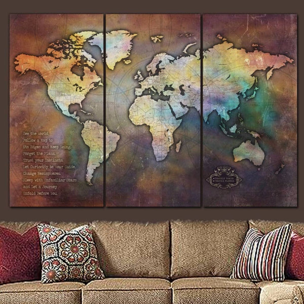 Iridescent Push Pin World Map - 3 Panels | Holy Cow Canvas - Canvas Wall Art - HolyCowCanvas
