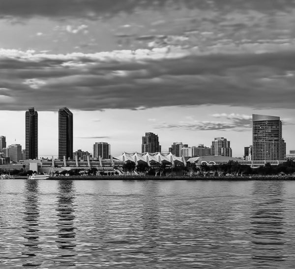 San Diego Skyline Black & White Wall Art - Canvas Wall Art - HolyCowCanvas
