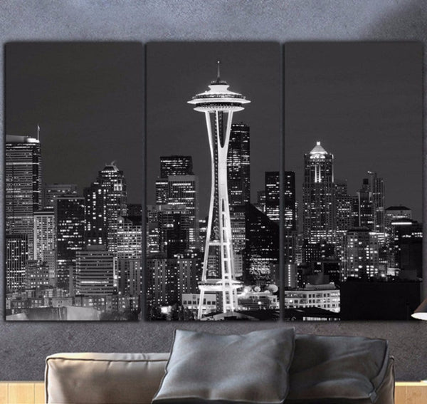 Seattle Skyline 3 Panel Canvas B&W Large Wall Art - Canvas Wall Art - HolyCowCanvas