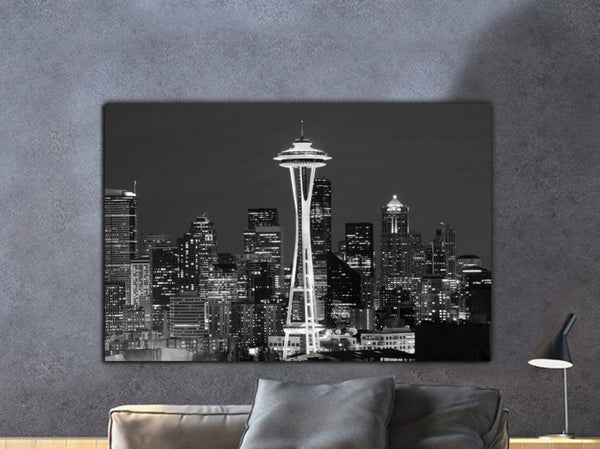Seattle Skyline Black & White Canvas Art - Canvas Wall Art - HolyCowCanvas