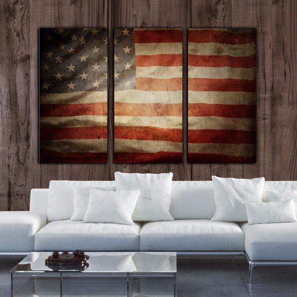 Vintage American Flag Canvas - Canvas Wall Art - HolyCowCanvas