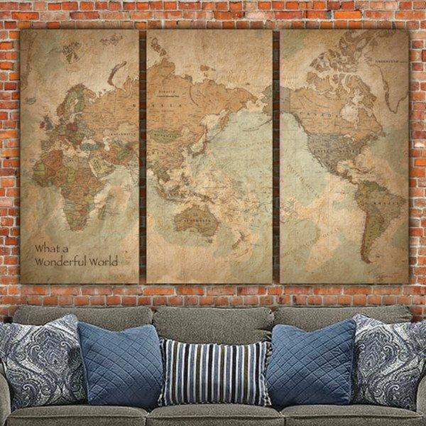 Large Travel World Map Stretched Canvas Art - Unconventional Layout - Canvas Wall Art - HolyCowCanvas