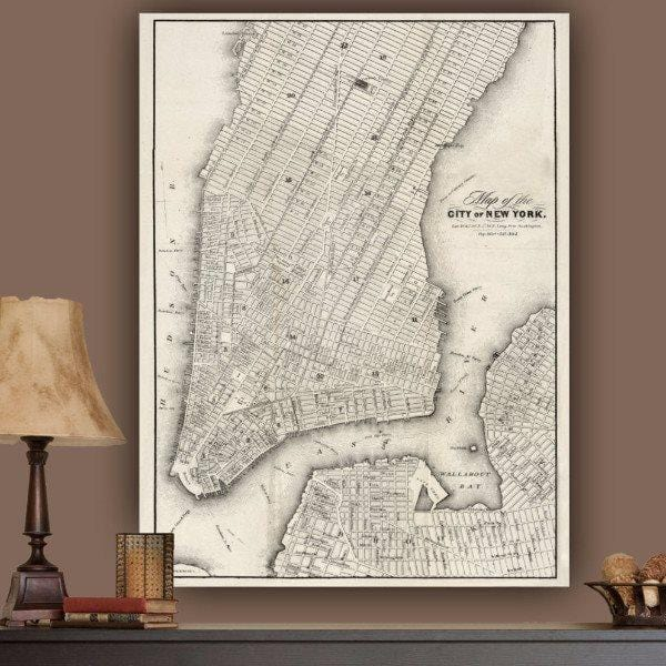 Vintage NYC Map Wall Art on Canvas - Canvas Wall Art - HolyCowCanvas