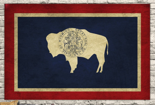Wyoming State Flag Canvas Wall Art - Canvas Wall Art - HolyCowCanvas