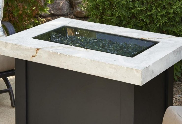 "Outdoor Greatroom Company 1224-GREY-GLASS-COVER 12"" X 24"" Rectangular Tempered Grey Glass Burner Cover"
