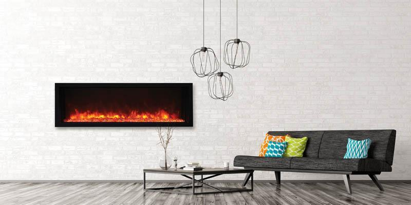 "Amantii BI-50-XTRASLIM 50"" Extra Slim Indoor or Outdoor Electric Built-In Electric Fireplace with black steel surround"