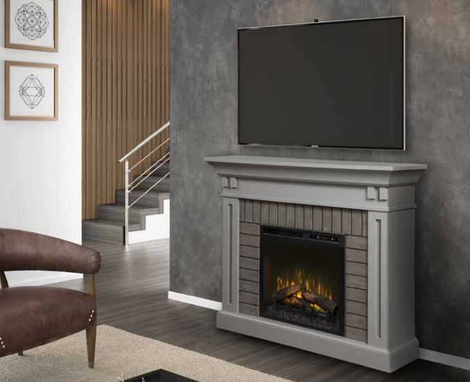 Madison Mantel in Stone Grey Finish DM28-1968SG Firebox Sold Separately