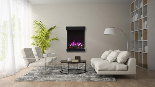 "Amantii CUBE-2025WM 25""unit - 11 3/4"" in depth 3 sided glass fireplace"