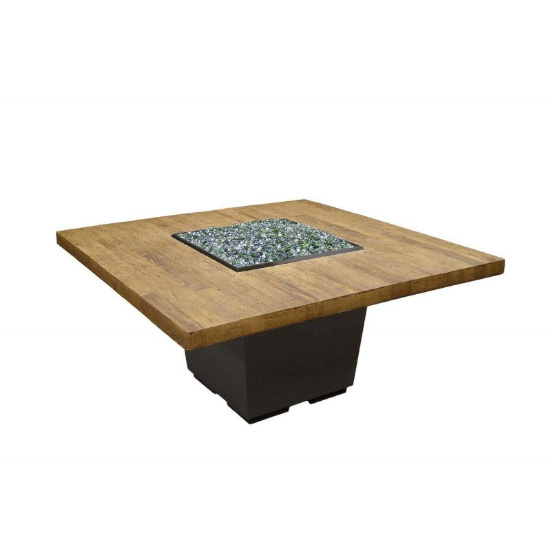 American Fyre Designs Dining Height Reclaimed Wood Cosmo Square Firetable 642-BA-XX-V6XC