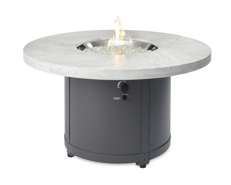 Outdoor Greatroom Company BC-20-WO White Onyx Beacon Chat Height Gas Fire Pit Table