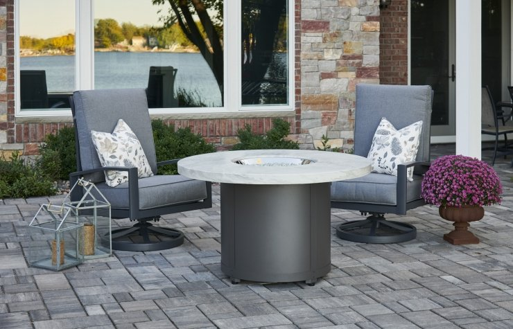 Outdoor Greatroom Company BD-20-WO White Onyx Beacon Dining Height Gas Fire Pit Table