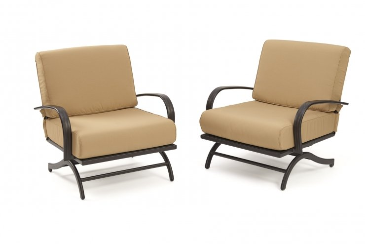 Outdoor Greatroom Company CFP42-RCH Chat Rocking Chairs with Tan Cushions