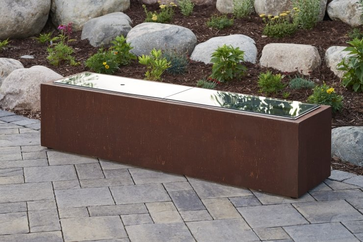 "Outdoor Greatroom Company 1264-GGC 12"" X 64"" Linear Grey Tempered Glass Burner Cover"