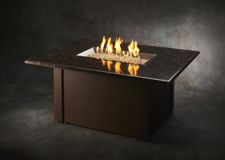 Outdoor Greatroom Company GS-1224-BRN-K Brown Grandstone Rectangular Gas Fire Pit Table