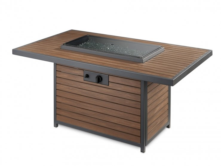 Outdoor Greatroom Company KW-1224-K Kenwood Rectangular Chat Height Gas Fire Pit Table