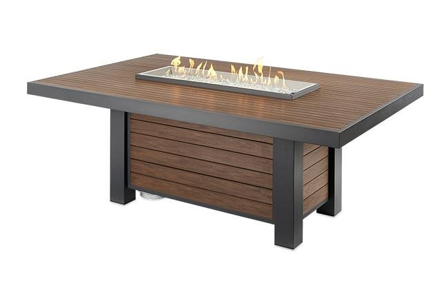 Outdoor Greatroom Company KW-1242-K Kenwood Linear Dining Height Gas Fire Pit Table