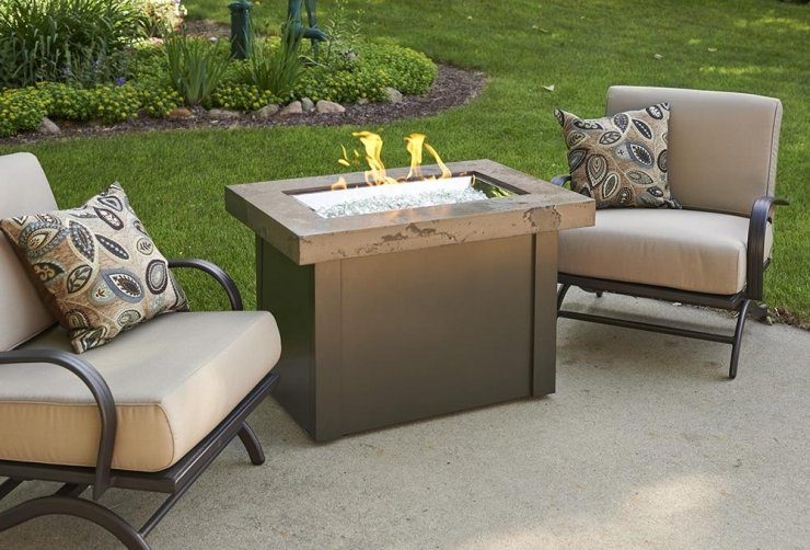 Outdoor Greatroom Company PROV-1224-MNB-K Brown Providence Rectangular Gas Fire Pit Table