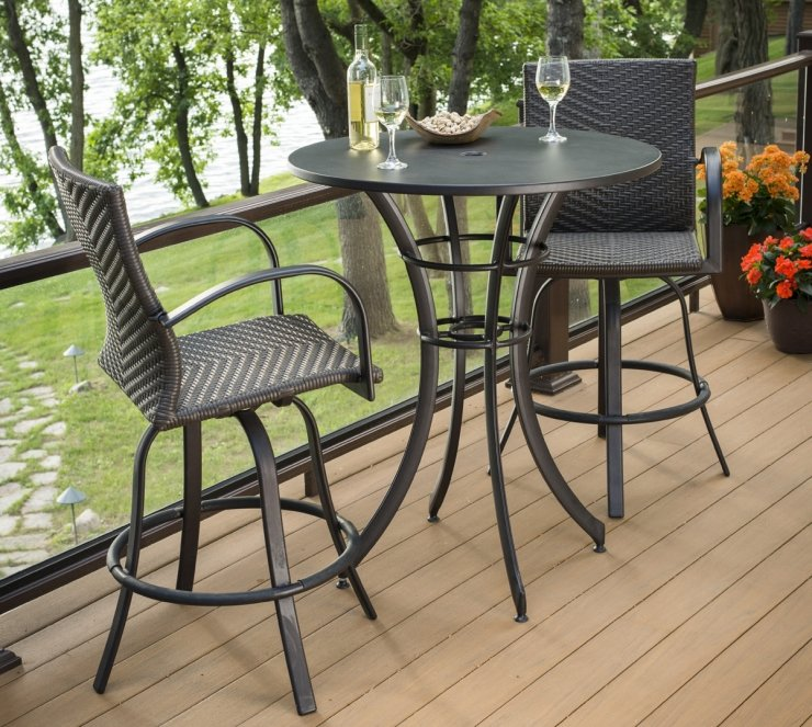 Outdoor Greatroom Company NAPLES-4030-L Leather Wicker Bar Stools