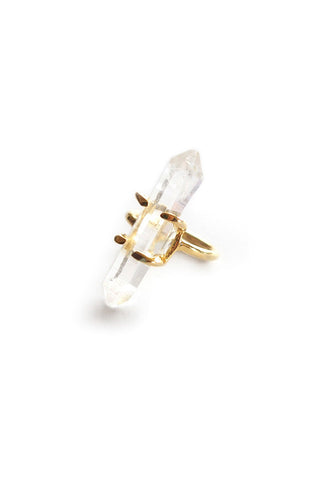 Torchlight Jewelry Aura Crystal Quartz Ring Gold / Small quartz crystal hand set in prongs on thin band / Made with reclaimed metal