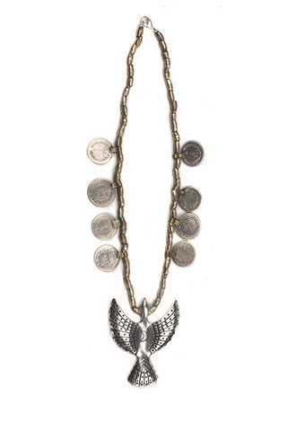 Torchlight Jewelry Aluquoy Statement Necklace / Statement necklace with vintage inspired bird pendant, vintage coins and beads