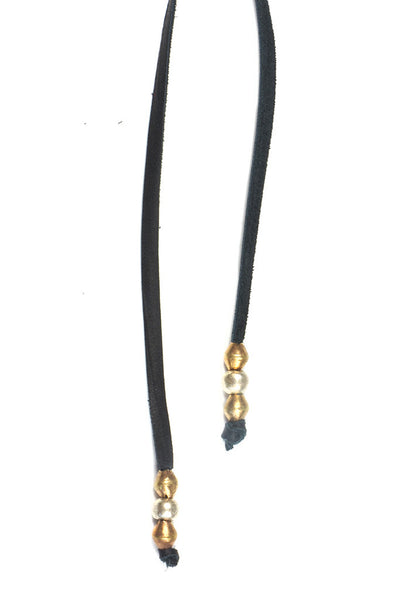 Torchlight Jewelry Beaded Bolo / Long leather bolo or lariat style necklace with brass bead details
