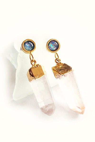 Torchlight Jewelry Blue Moon Earrings Gold / Gold dipped quartz crystals hanging from opal studs