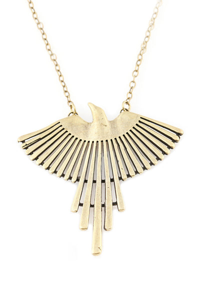 Torchlight Jewelry Thunderbird Pendant Necklace in brass / Torchlight Jewelry's Thunderbird pendant on long chain