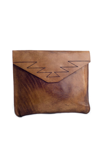 Torchlight Jewelry Mountain Leather Clutch / Vintage inspired handmade and hand dyed clutch bag purse