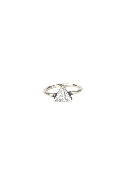 Torchlight Jewelry Triangle Ring in silver / Triangle shaped cubic zirconia diamond on a thin band