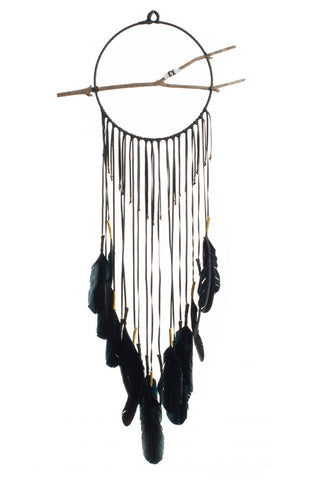 Torchlight Jewelry Black Gossamer Dream Circle / Black leather dream catcher with black feathers, gold thread,gold beads with quartz crystal on branch in the center