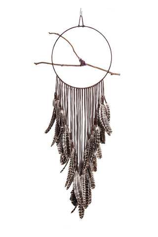 Torchlight Jewelry Brown Spirit Dream Circle / Handmade brown leather dream catcher with barred feathers with amethyst crystal on branch in the center