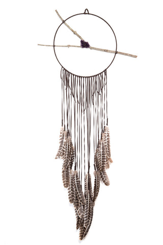Torchlight Jewelry Classic Brown Spirit Dream Circle / Handmade dream catcher with brown deerskin leather, barred turkey feathers, found branch and amethyst crystal
