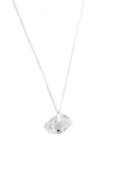 Torchlight Jewelry 2 Herkimer Quartz Diamond Pendant Necklace / Delicate pendant necklace featuring hand-set natural herkimer quartz diamond charm